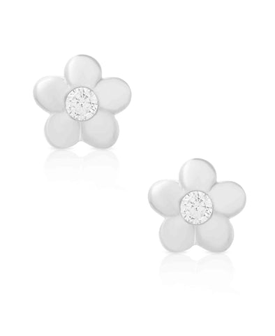 Flower CZ Stud Earrings in Sterling Silver