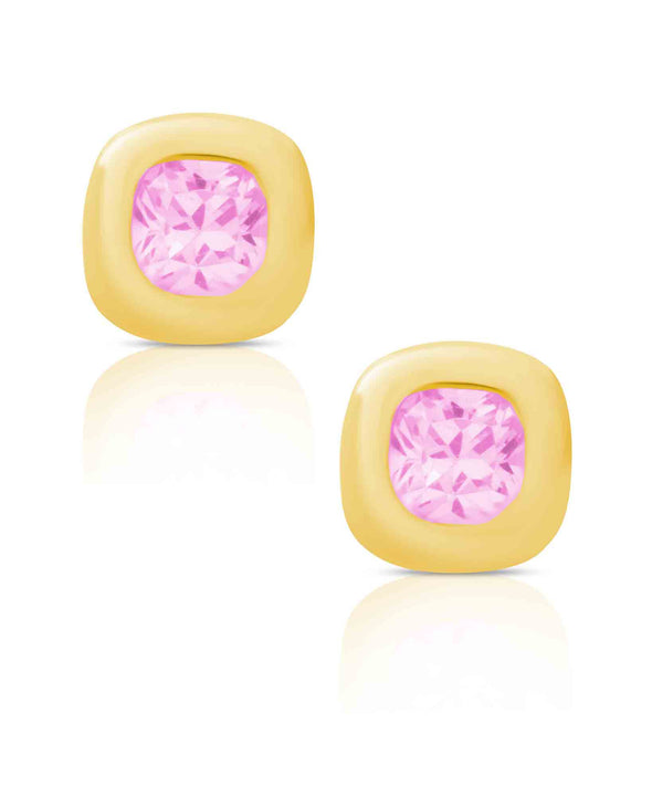 Cushion CZ Stud Earrings in 18K Gold over Sterling Silver