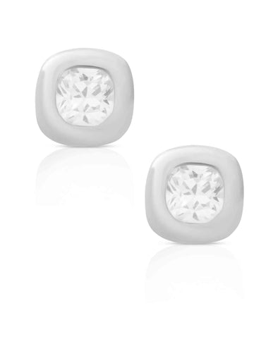 Cushion CZ Stud Earrings in Sterling Silver