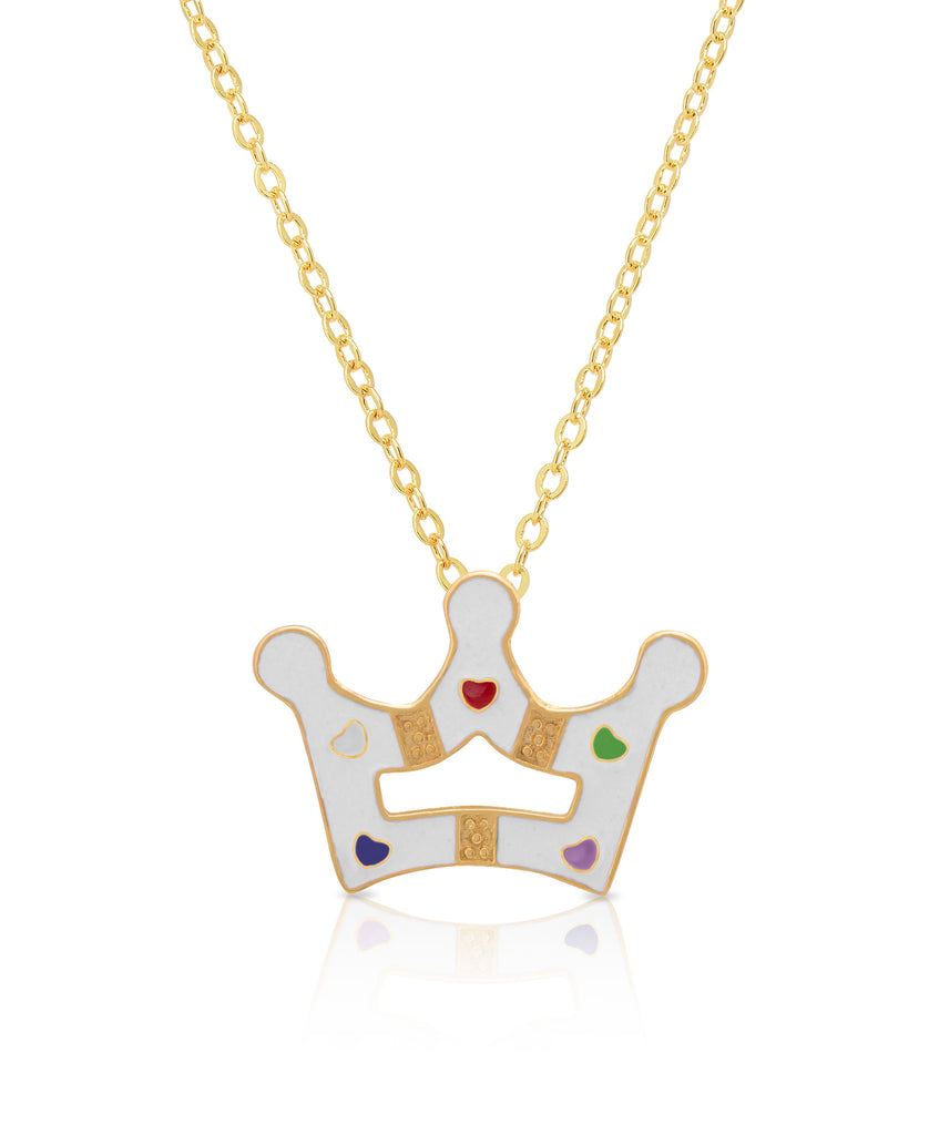 pendant gold with crown in yellow white diamonds
