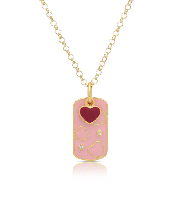 Dog Tag Pendant with CZ and Heart Charm