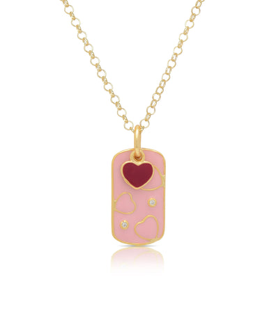 Heart Dog Tag Pendant with CZ