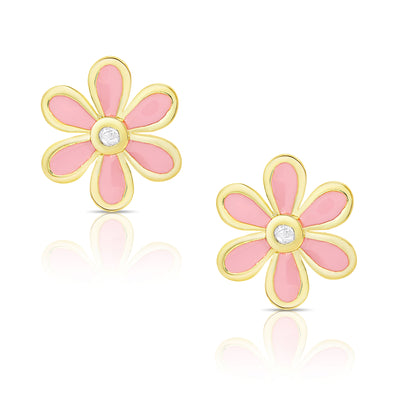 Flower Stud Earrings with Diamond Accent