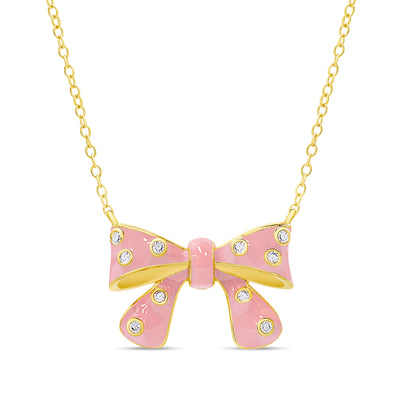 Bow Necklace with CZ
