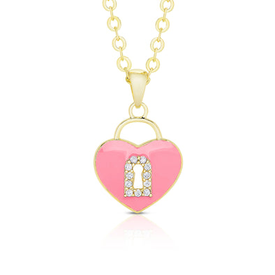 Heart Lock Pendant with CZ