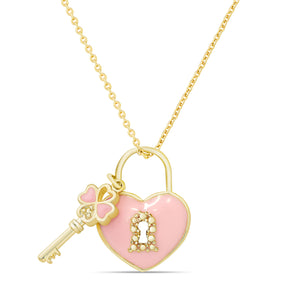 Heart Lock & Key Pendant (Double-Sided)