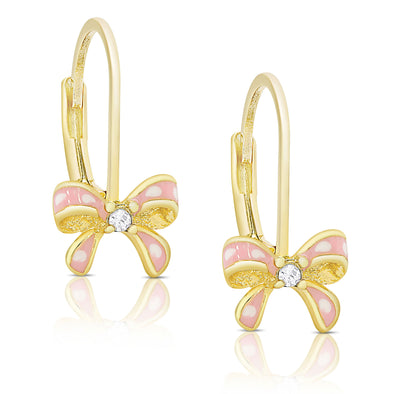 Bow Drop Earrings with CZ