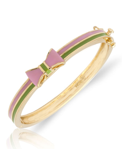 Pink and Green Striped Bow Bangle