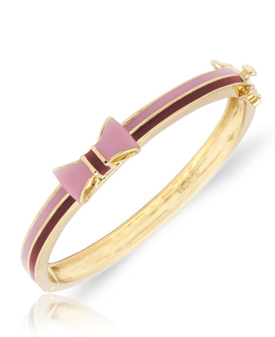 Pink and Maroon Striped Bow Bangle
