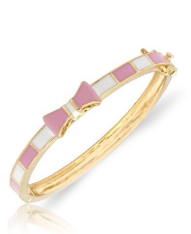 Pink and White Bow Bangle