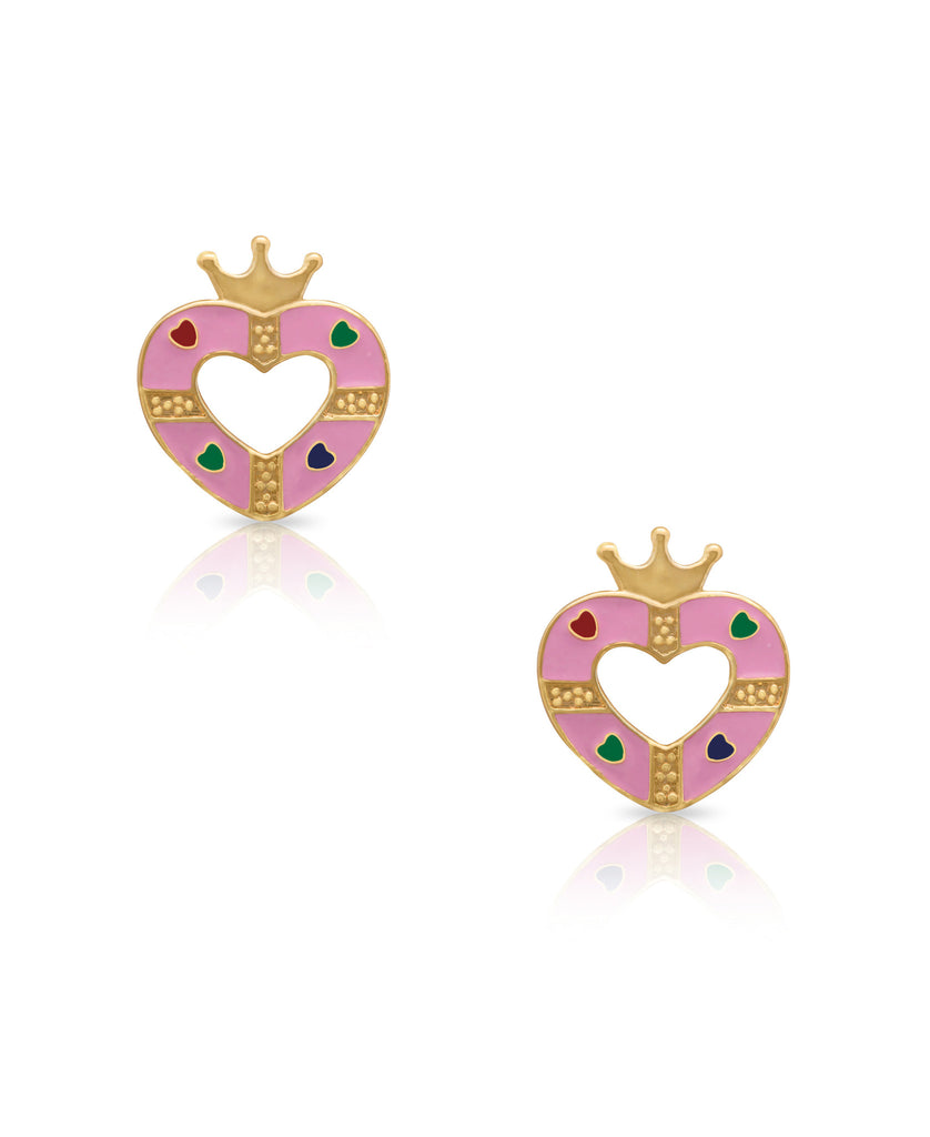 Open Heart Stud Earrings-1