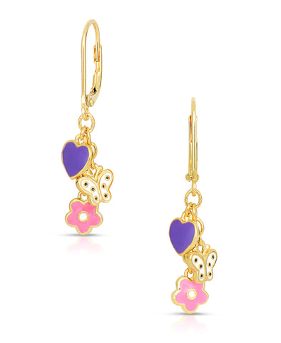 Flower, Butterfly, and Heart Charms Drop Earrings