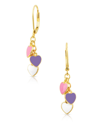 Heart Charms Leverback Earrings