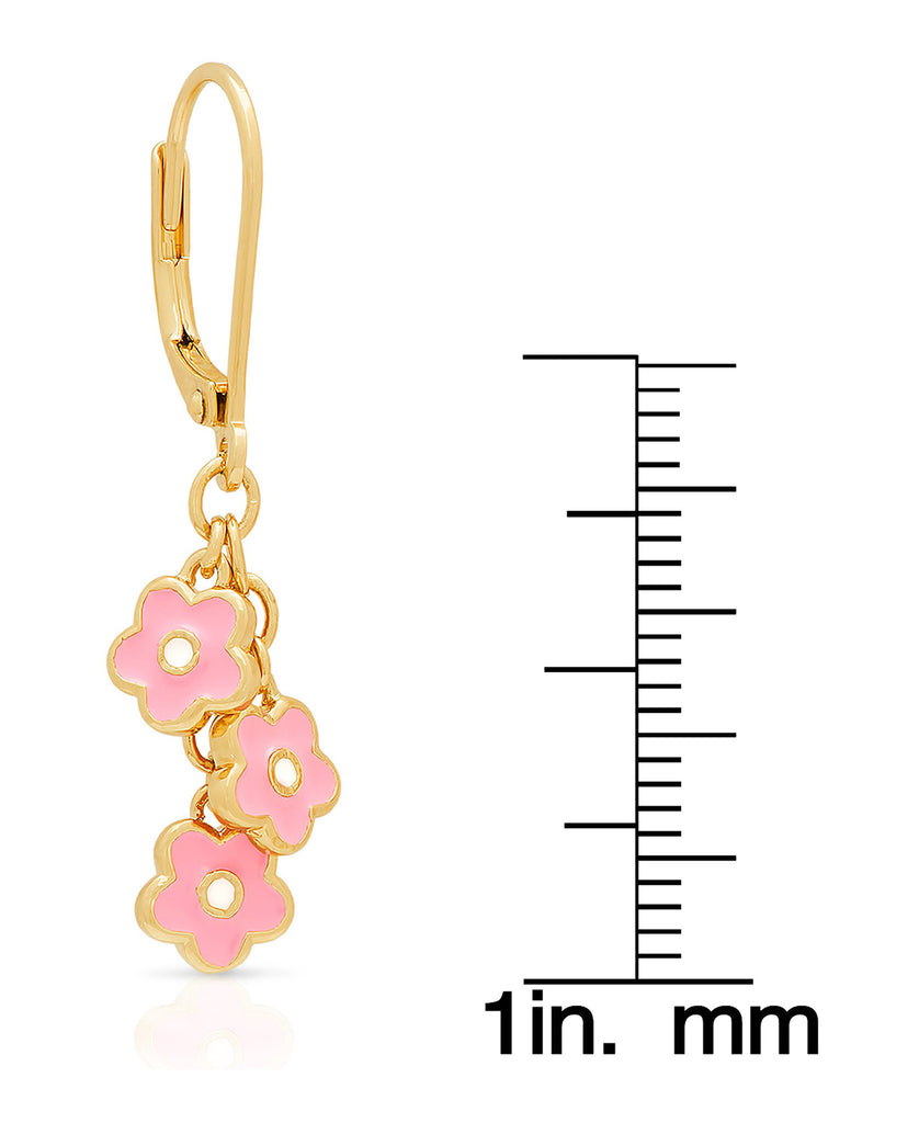 Flower Charms Leverback Earrings-2