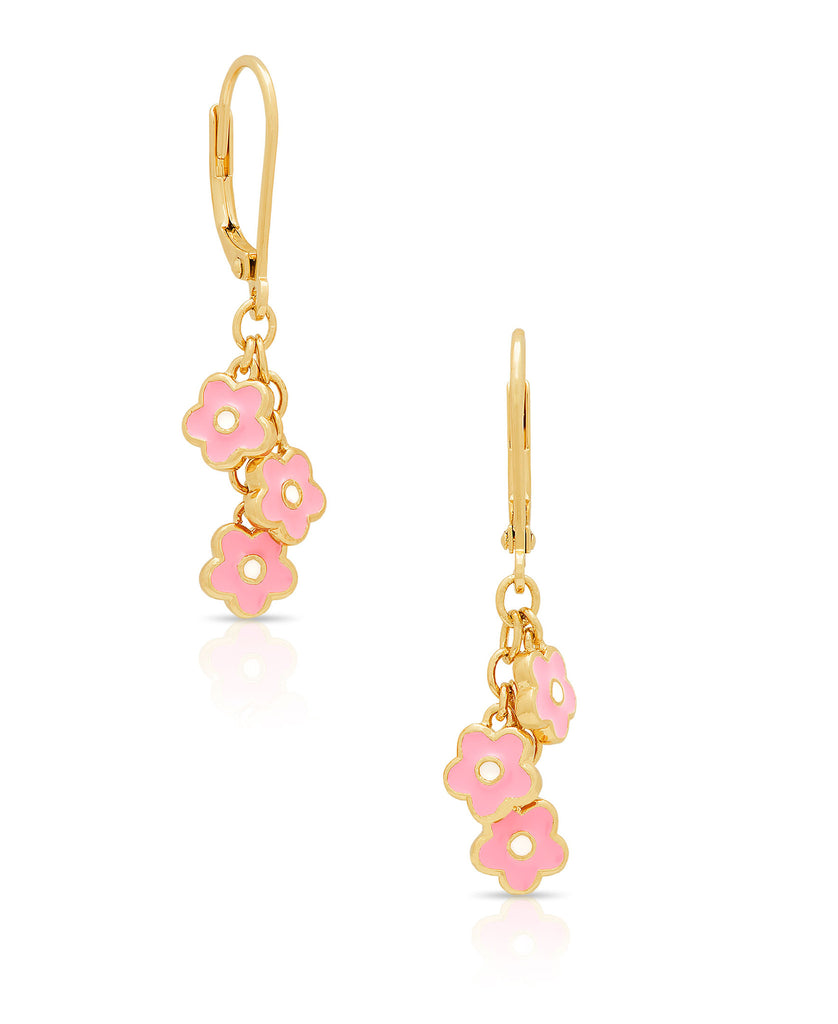 Flower Charms Leverback Earrings-1