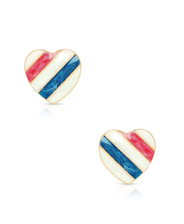 Striped Heart Stud Earrings