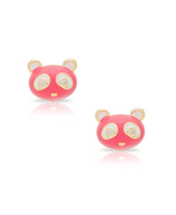 Pink Panda Stud Earrings