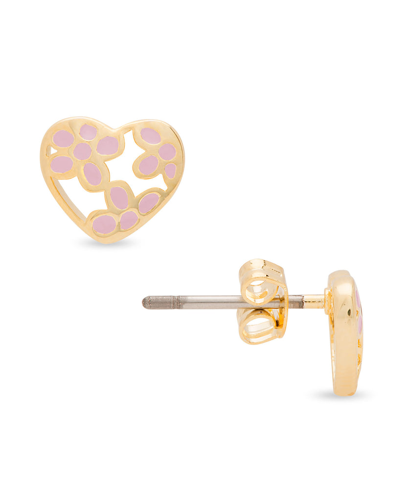 Heart Flower Stud Earrings - Pink-2