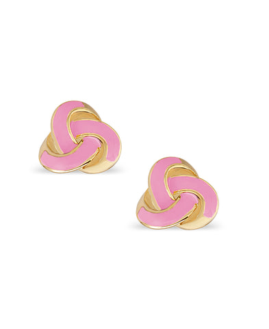 Pink Love Knot Stud Earrings