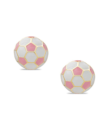 Pink Soccer Ball Stud Earrings