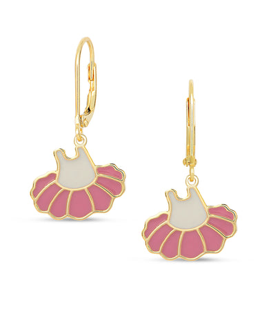 Ballerina Dress Leverback Earrings - Pink / White