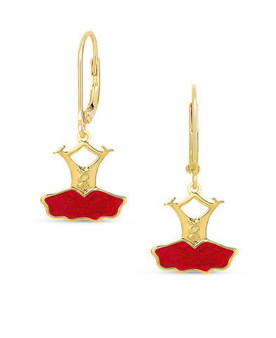 Ballerina Dress Leverback Earrings - Red