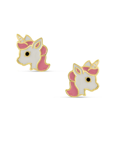 Unicorn Stud Earrings - Pink / White