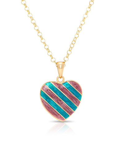 Striped Heart Pendant (Purple/Blue)