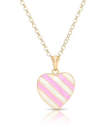 Striped Heart Pendant (Pink/White)