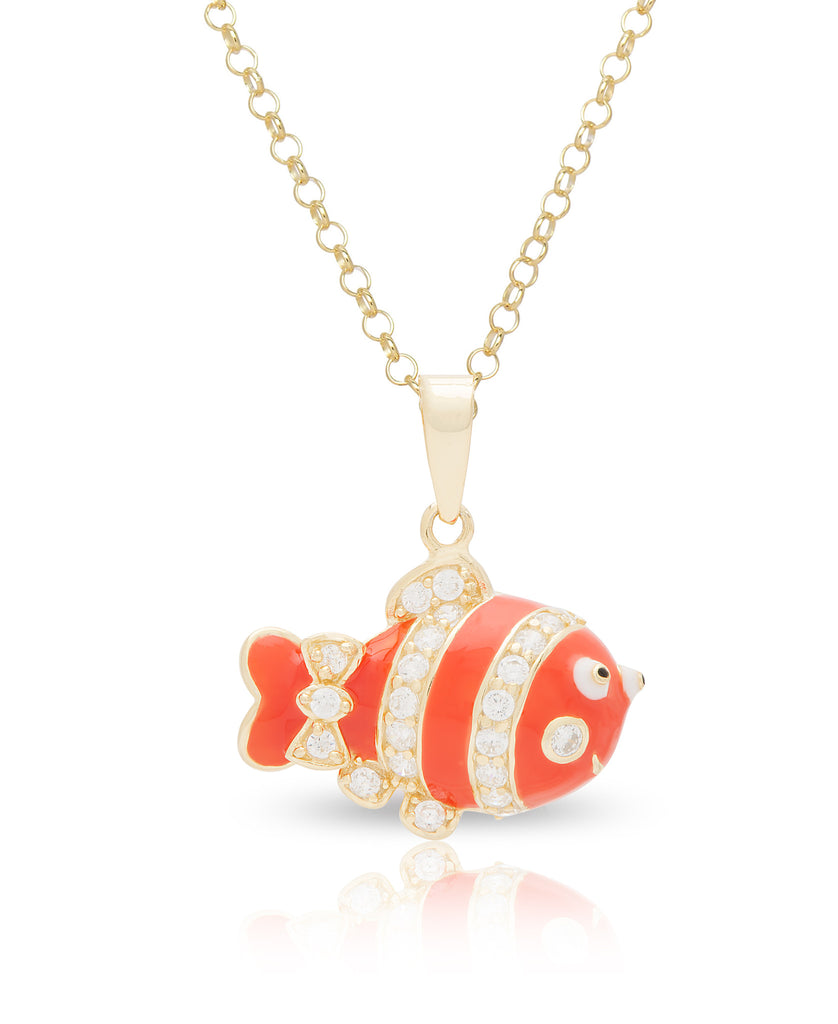 Clown Fish Pendant with Crystals-1