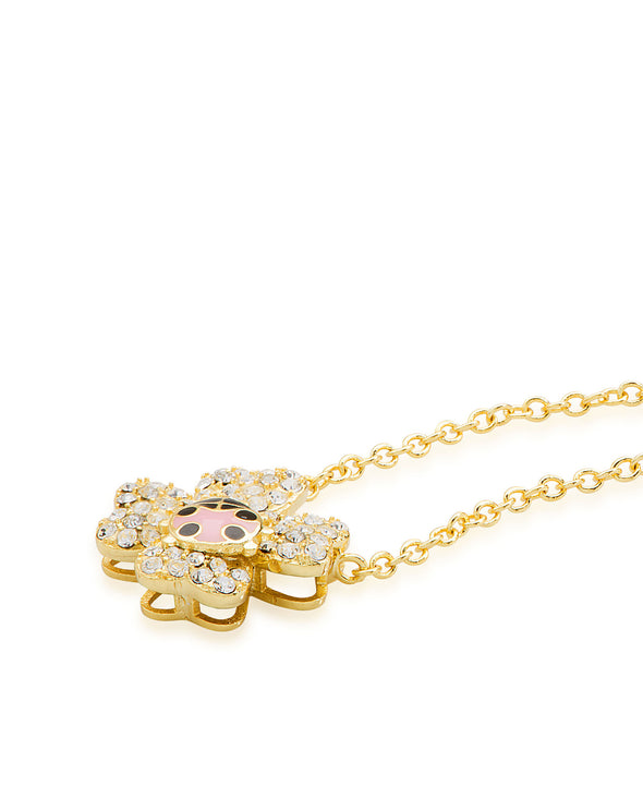 CZ Flower Necklace with Ladybug