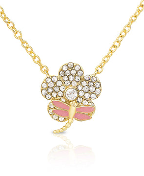 CZ Flower Necklace with Dragonfly