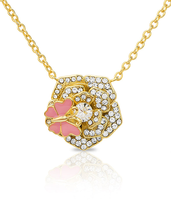 CZ Flower Necklace with Butterfly