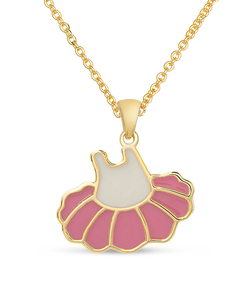 Ballerina Dress Pendant Necklace - Pink / White-1