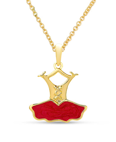 Ballerina Dress Pendant Necklace - Red