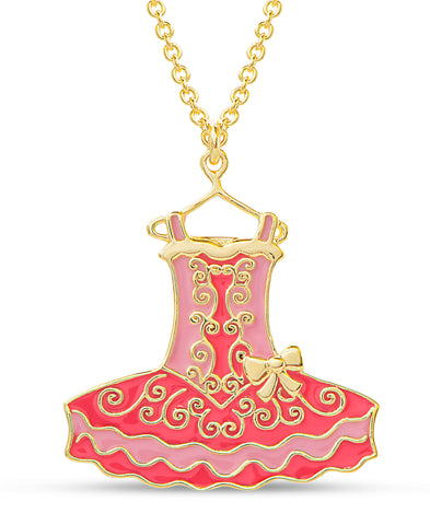 Ballerina Dress Pendant Necklace - Pink / Red