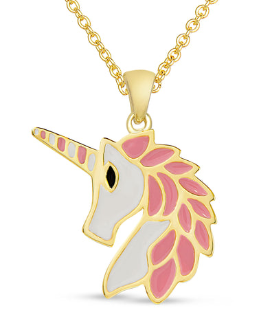 Unicorn Pendant Necklace - Pink / White