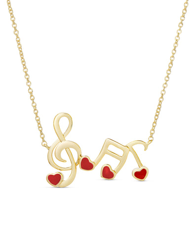 Musical Note Links Necklace - Red