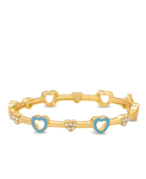 Open Hearts and Crystals Bangle Bracelet - Blue