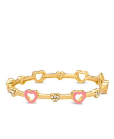 Open Hearts and Crystals Bangle Bracelet - Pink