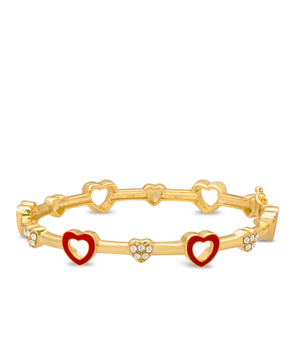 Open Hearts and Crystals Bangle Bracelet - Red