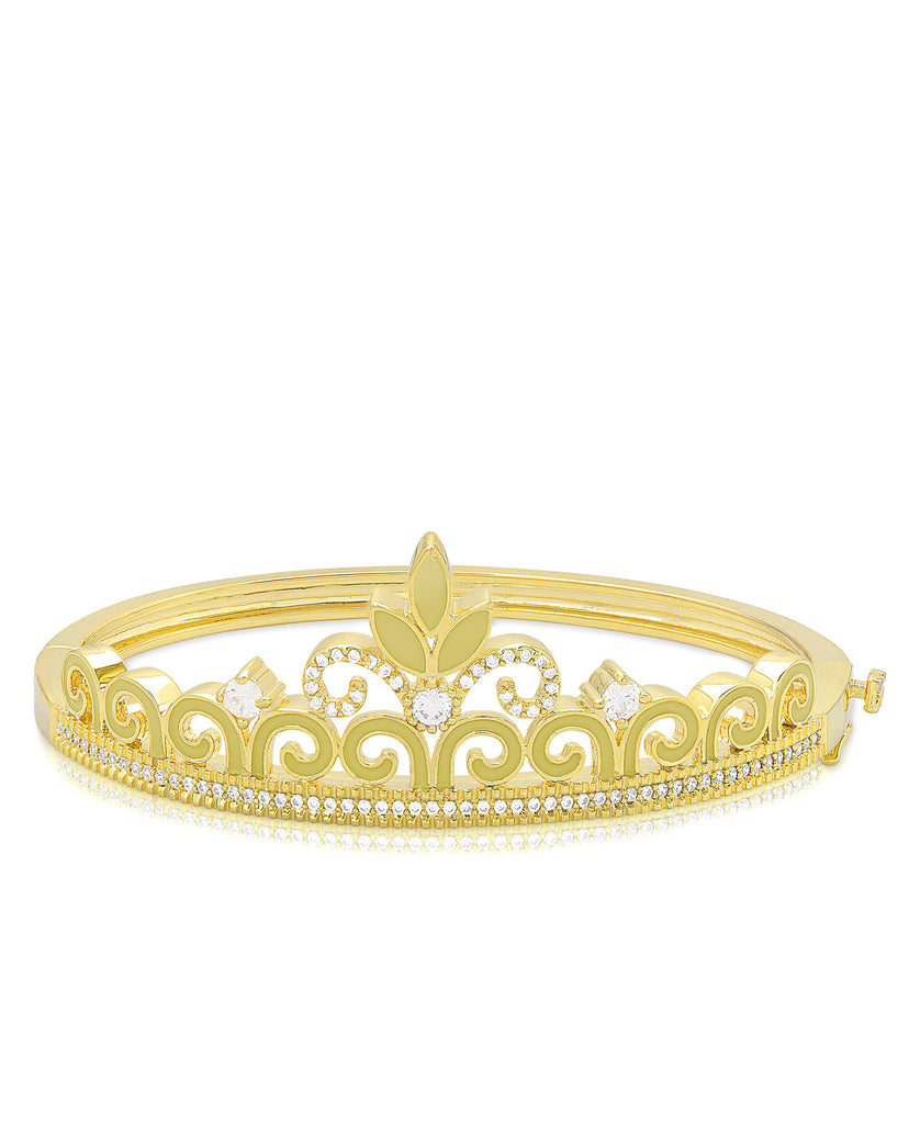 Princess Crown Bangle Bracelet - Green Flower-1