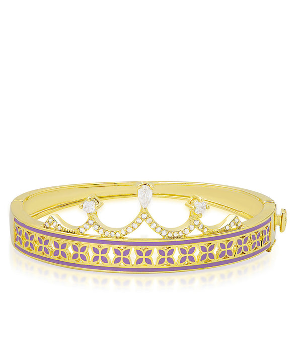 Princess Crown Bangle Bracelet - Purple Leaf