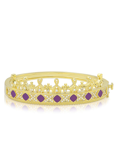 Princess Crown Bangle Bracelet - Purple Diamond