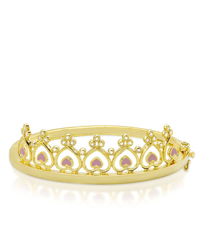 Princess Crown Bangle Bracelet - Pink Hearts