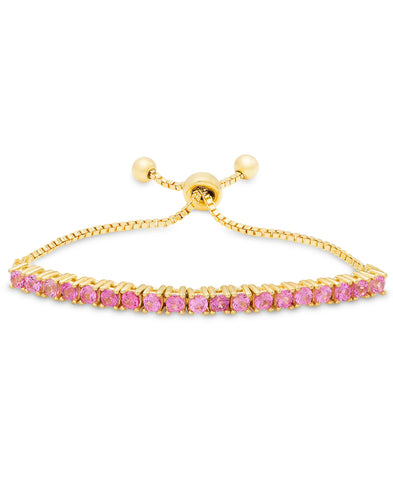 Pink CZ Adjustable Bracelet in 18K Gold over Sterling Silver
