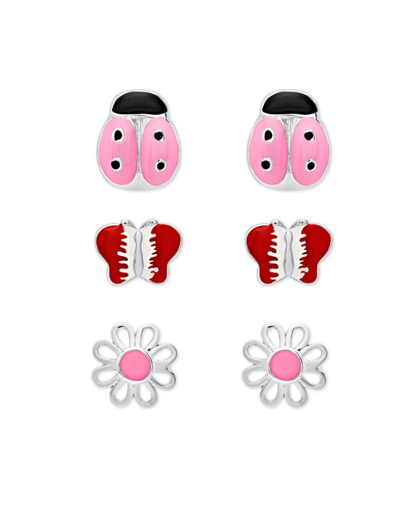'Flowers and Critters' 3-Pair Stud Earrings Set in Sterling Silver