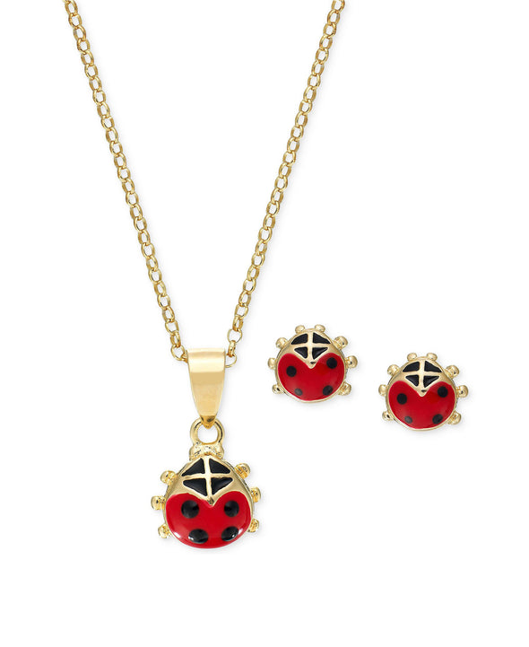 Ladybug Pendant and Stud Earrings Set in 18K Gold over Sterling Silver