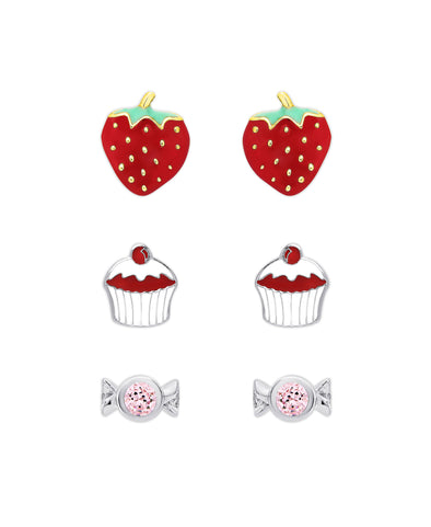 'Something Sweet' 3-Pair Stud Earrings Set in Sterling Silver