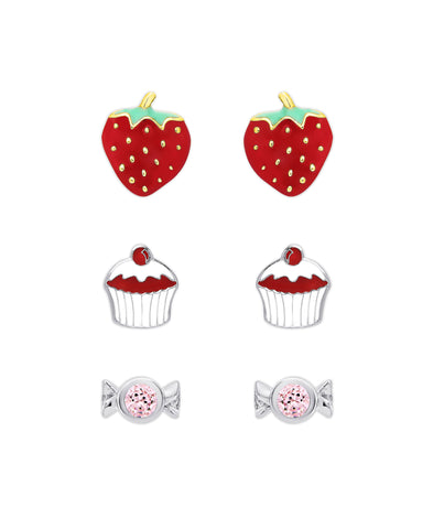 """Something Sweet"" 3-Pair Stud Earrings Set in Sterling Silver"